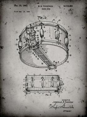PP1018-Faded Grey Rogers Snare Drum Patent Poster by Cole Borders
