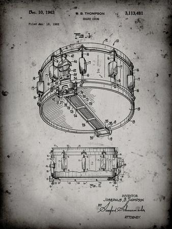 PP1018-Faded Grey Rogers Snare Drum Patent Poster