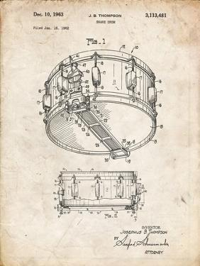 PP1018-Vintage Parchment Rogers Snare Drum Patent Poster by Cole Borders
