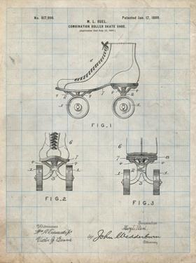 PP1019-Antique Grid Parchment Roller Skate 1899 Patent Poster by Cole Borders