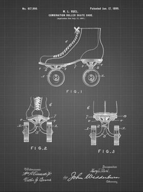PP1019-Black Grid Roller Skate 1899 Patent Poster by Cole Borders