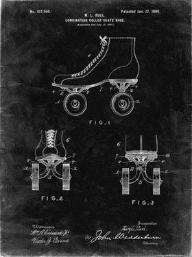 PP1019-Black Grunge Roller Skate 1899 Patent Poster by Cole Borders