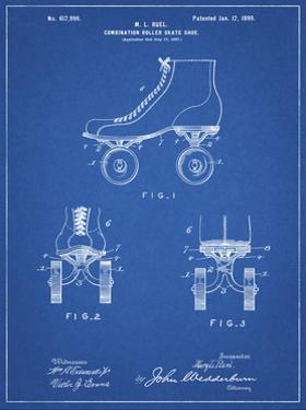 PP1019-Blueprint Roller Skate 1899 Patent Poster by Cole Borders