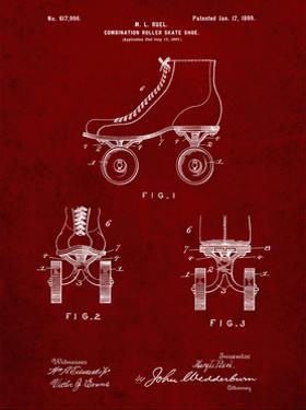 PP1019-Burgundy Roller Skate 1899 Patent Poster by Cole Borders