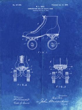PP1019-Faded Blueprint Roller Skate 1899 Patent Poster by Cole Borders
