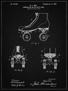 PP1019-Vintage Black Roller Skate 1899 Patent Poster by Cole Borders