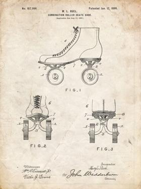 PP1019-Vintage Parchment Roller Skate 1899 Patent Poster by Cole Borders