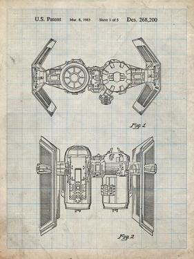 PP102-Antique Grid Parchment Star Wars TIE Bomber Patent Poster by Cole Borders