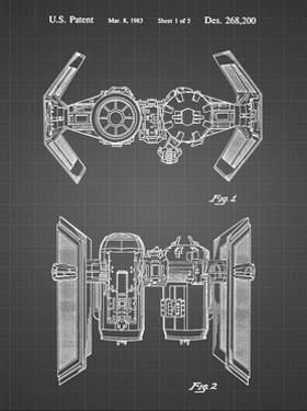 PP102-Black Grid Star Wars TIE Bomber Patent Poster by Cole Borders