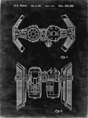 PP102-Black Grunge Star Wars TIE Bomber Patent Poster by Cole Borders