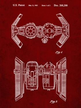 PP102-Burgundy Star Wars TIE Bomber Patent Poster by Cole Borders