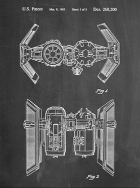 PP102-Chalkboard Star Wars TIE Bomber Patent Poster by Cole Borders