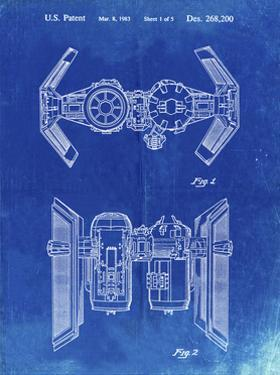 PP102-Faded Blueprint Star Wars TIE Bomber Patent Poster by Cole Borders