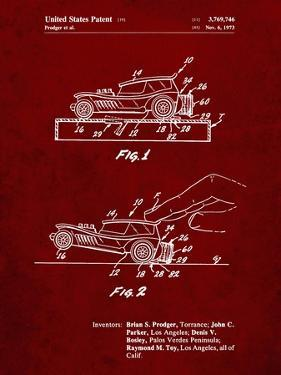 PP1020-Burgundy Rubber Band Toy Car Patent Poster by Cole Borders