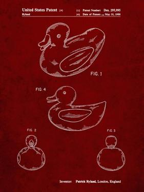 PP1021-Burgundy Rubber Ducky Patent Poster by Cole Borders