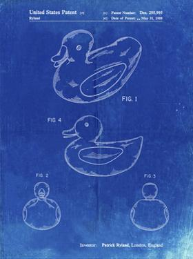 PP1021-Faded Blueprint Rubber Ducky Patent Poster by Cole Borders