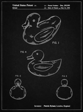 PP1021-Vintage Black Rubber Ducky Patent Poster by Cole Borders