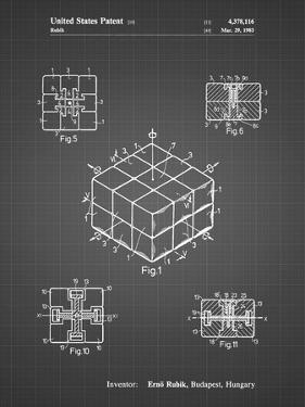 PP1022-Black Grid Rubik's Cube Patent Poster by Cole Borders