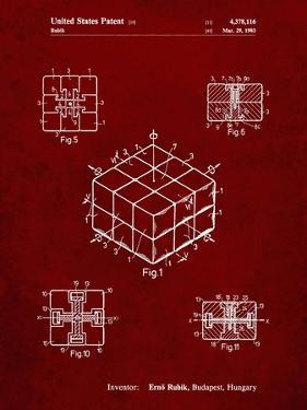 PP1022-Burgundy Rubik's Cube Patent Poster by Cole Borders