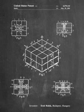 PP1022-Chalkboard Rubik's Cube Patent Poster by Cole Borders