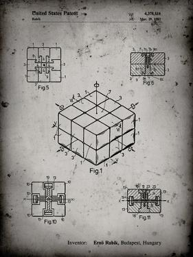 PP1022-Faded Grey Rubik's Cube Patent Poster by Cole Borders