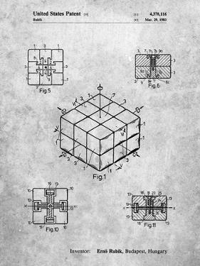 PP1022-Slate Rubik's Cube Patent Poster by Cole Borders