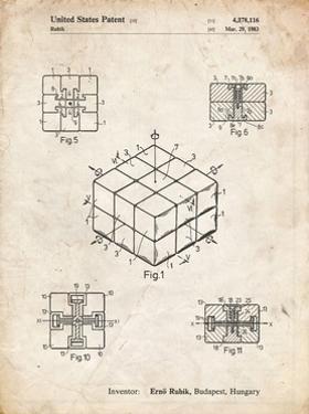 PP1022-Vintage Parchment Rubik's Cube Patent Poster by Cole Borders
