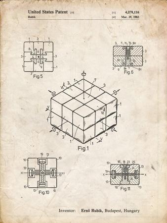 PP1022-Vintage Parchment Rubik's Cube Patent Poster