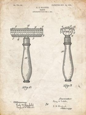 PP1026-Vintage Parchment Safety Razor Patent Poster by Cole Borders