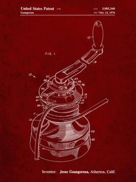 PP1027-Burgundy Sailboat Winch Patent Poster by Cole Borders