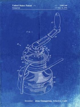 PP1027-Faded Blueprint Sailboat Winch Patent Poster by Cole Borders