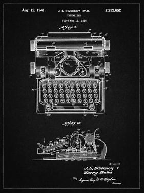 PP1029-Vintage Black School Typewriter Patent Poster by Cole Borders