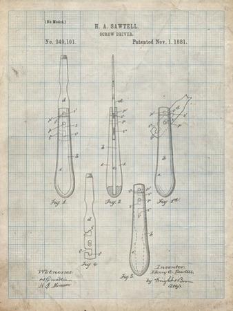 PP1032-Antique Grid Parchment Screw Driver Patent 1881 Wall Art Poster by Cole Borders