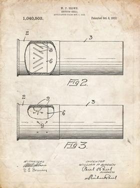 PP1033-Vintage Parchment Shotgun Shell Patent Print by Cole Borders