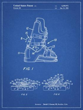 PP1037-Blueprint Ski Boots Patent Poster by Cole Borders