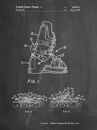PP1037-Chalkboard Ski Boots Patent Poster