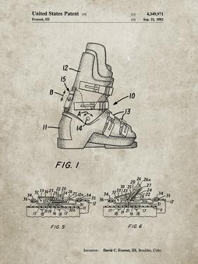 PP1037-Sandstone Ski Boots Patent Poster by Cole Borders