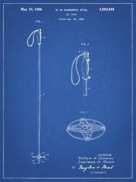 PP1038-Blueprint Ski Pole Patent Poster by Cole Borders