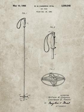 PP1038-Sandstone Ski Pole Patent Poster by Cole Borders