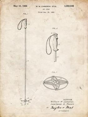 PP1038-Vintage Parchment Ski Pole Patent Poster by Cole Borders
