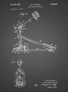 PP104-Black Grid Drum Kick Pedal Poster by Cole Borders
