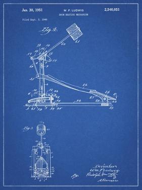 PP104-Blueprint Drum Kick Pedal Poster by Cole Borders