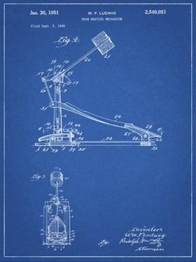 PP104-Blueprint Drum Kick Pedal Poster by Cole Borders