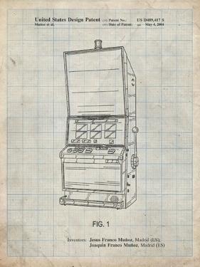 PP1043-Antique Grid Parchment Slot Machine Patent Poster by Cole Borders