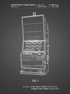 PP1043-Black Grid Slot Machine Patent Poster by Cole Borders