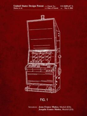 PP1043-Burgundy Slot Machine Patent Poster by Cole Borders