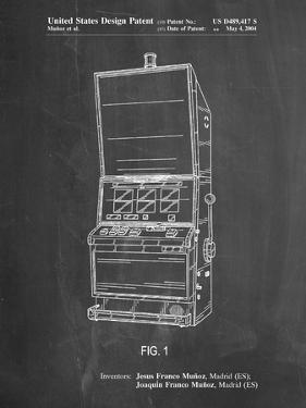 PP1043-Chalkboard Slot Machine Patent Poster by Cole Borders