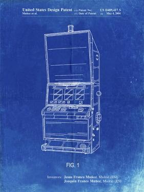 PP1043-Faded Blueprint Slot Machine Patent Poster by Cole Borders
