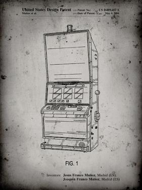 PP1043-Faded Grey Slot Machine Patent Poster by Cole Borders