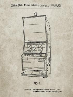 PP1043-Sandstone Slot Machine Patent Poster by Cole Borders